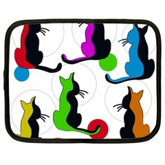 Colorful Abstract Cats Netbook Case (xxl)  by Valentinaart