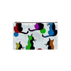 Colorful Abstract Cats Cosmetic Bag (small)  by Valentinaart