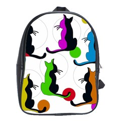 Colorful Abstract Cats School Bags(large)  by Valentinaart