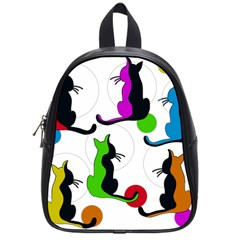 Colorful Abstract Cats School Bags (small)  by Valentinaart