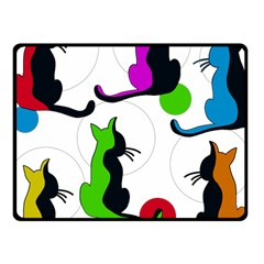 Colorful Abstract Cats Fleece Blanket (small)