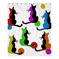 Colorful Abstract Cats Shower Curtain 60  X 72  (medium)  by Valentinaart