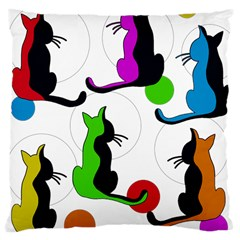 Colorful Abstract Cats Large Cushion Case (two Sides)