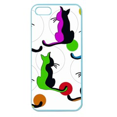 Colorful Abstract Cats Apple Seamless Iphone 5 Case (color) by Valentinaart