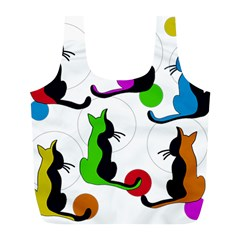Colorful Abstract Cats Full Print Recycle Bags (l)  by Valentinaart