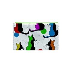 Colorful Abstract Cats Cosmetic Bag (xs) by Valentinaart