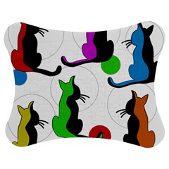 Colorful Abstract Cats Jigsaw Puzzle Photo Stand (bow) by Valentinaart