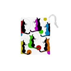 Colorful Abstract Cats Drawstring Pouches (xs)  by Valentinaart