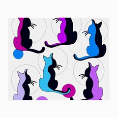 Purple Abstract Cats Small Glasses Cloth by Valentinaart