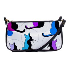 Purple Abstract Cats Shoulder Clutch Bags