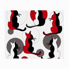 Elegant Abstract Cats  Small Glasses Cloth (2-side) by Valentinaart