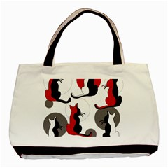 Elegant Abstract Cats  Basic Tote Bag (two Sides) by Valentinaart