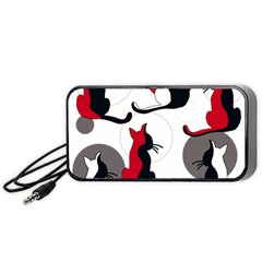 Elegant Abstract Cats  Portable Speaker (black)  by Valentinaart
