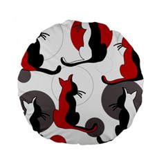 Elegant Abstract Cats  Standard 15  Premium Round Cushions by Valentinaart