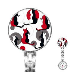 Elegant Abstract Cats  Stainless Steel Nurses Watch by Valentinaart