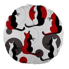 Elegant Abstract Cats  Large 18  Premium Flano Round Cushions by Valentinaart
