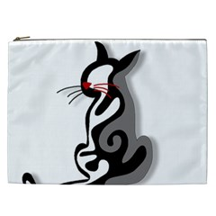 Elegant Abstract Cat  Cosmetic Bag (xxl)  by Valentinaart