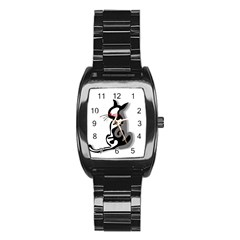 Elegant Abstract Cat  Stainless Steel Barrel Watch by Valentinaart