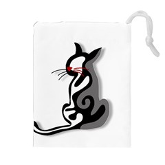 Elegant Abstract Cat  Drawstring Pouches (extra Large) by Valentinaart