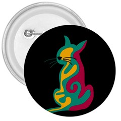 Colorful Abstract Cat  3  Buttons