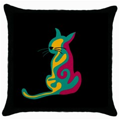 Colorful Abstract Cat  Throw Pillow Case (black) by Valentinaart