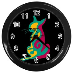 Colorful Abstract Cat  Wall Clocks (black) by Valentinaart