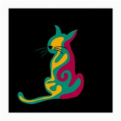 Colorful Abstract Cat  Medium Glasses Cloth by Valentinaart