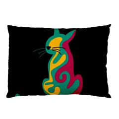 Colorful Abstract Cat  Pillow Case by Valentinaart