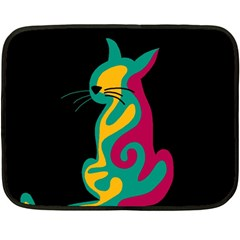 Colorful Abstract Cat  Double Sided Fleece Blanket (mini)  by Valentinaart