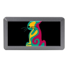 Colorful Abstract Cat  Memory Card Reader (mini) by Valentinaart