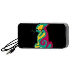 Colorful Abstract Cat  Portable Speaker (black)