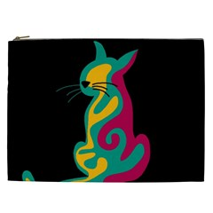 Colorful Abstract Cat  Cosmetic Bag (xxl)  by Valentinaart