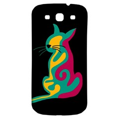 Colorful Abstract Cat  Samsung Galaxy S3 S Iii Classic Hardshell Back Case by Valentinaart
