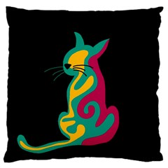 Colorful Abstract Cat  Large Flano Cushion Case (one Side) by Valentinaart