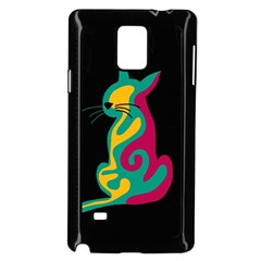 Colorful Abstract Cat  Samsung Galaxy Note 4 Case (black) by Valentinaart