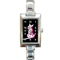 Pink Abstract Cat Rectangle Italian Charm Watch by Valentinaart