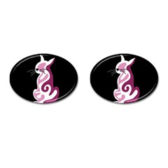 Pink Abstract Cat Cufflinks (oval) by Valentinaart