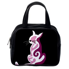 Pink Abstract Cat Classic Handbags (one Side) by Valentinaart