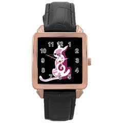 Pink Abstract Cat Rose Gold Leather Watch  by Valentinaart