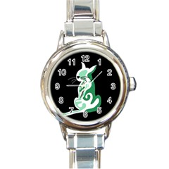 Green Abstract Cat  Round Italian Charm Watch by Valentinaart