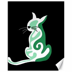 Green Abstract Cat  Canvas 11  X 14   by Valentinaart