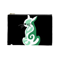 Green Abstract Cat  Cosmetic Bag (large)
