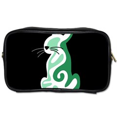 Green Abstract Cat  Toiletries Bags by Valentinaart