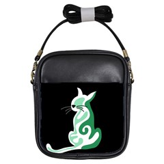 Green Abstract Cat  Girls Sling Bags by Valentinaart