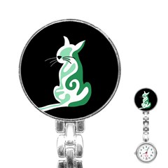 Green Abstract Cat  Stainless Steel Nurses Watch by Valentinaart