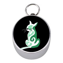 Green Abstract Cat  Mini Silver Compasses