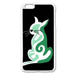 Green Abstract Cat  Apple Iphone 6 Plus/6s Plus Enamel White Case by Valentinaart