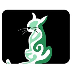 Green Abstract Cat  Double Sided Flano Blanket (medium)  by Valentinaart