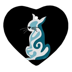 Blue Abstract Cat Ornament (heart)