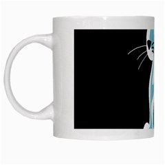 Blue Abstract Cat White Mugs by Valentinaart